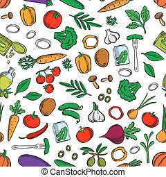 Seamless fresh and pickled vegetables pattern