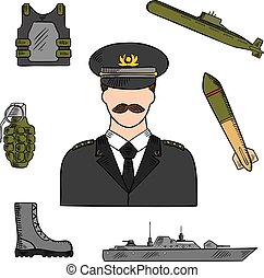 Military man sketch for armed forces design - Military man...