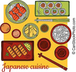 Japanese cuisine dinner colorful sketch icon