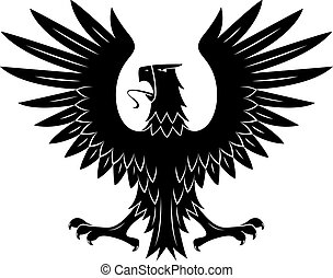 Black heraldic eagle with spread wings symbol