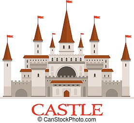 Medieval castle or fortress with red flags icon - Medieval...