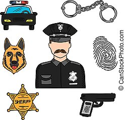 Policeman colored sketch for professions design - Policeman...