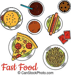 Fast food pizza with sandwiches and desserts icon - Sketched...