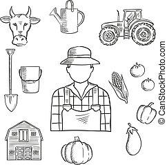 Farmer or farm worker profession sketch - Sketch of farmer...