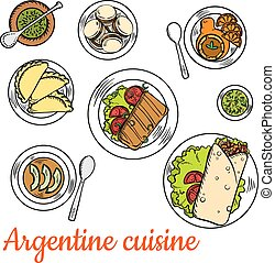 Bright national dishes of argentine cuisine sketch -...