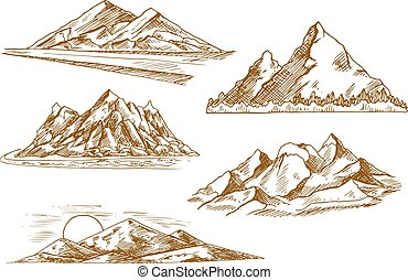 Mountain landscapes symbols with river and forest -...