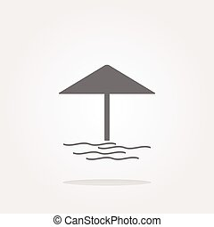vector Beach umbrella on web icon button isolated on white