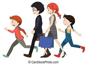 Adults and children walking