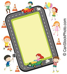 Children racing car on the road illustration