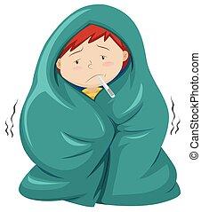 niño, debajo, manta, teniendo, fiebre,