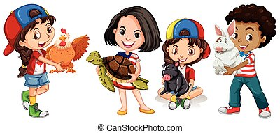 Children with domestic animals illustration