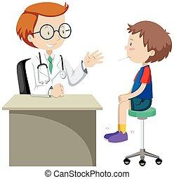 Doctor examining little boy illustration