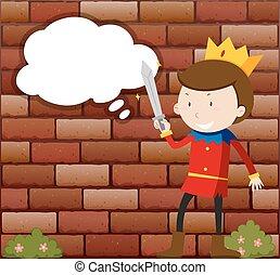 Little Prince holding sword illustration