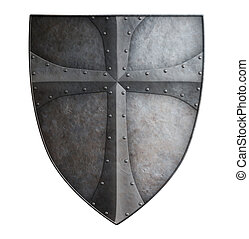 Big medieval crusader's metal shield isolated 3d...