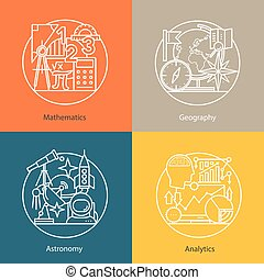 Vector set of logos mathematics, geography, astronomy, analytics.