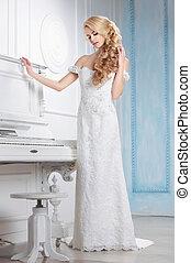 Woman model in a wedding dress.