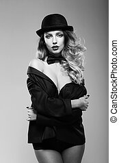 A woman in a mans jacket - Sexy woman in a mans jacket Black...