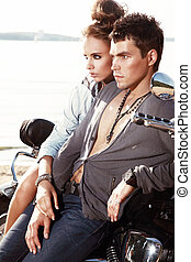 Romantic young couple in casual clothes.