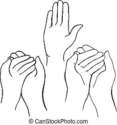 Hands - Vector drawing of hands holding something