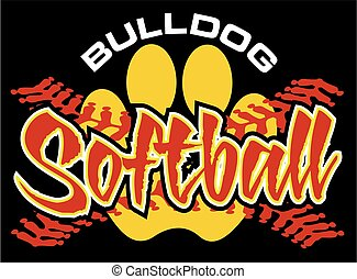 bulldog softball team design with paw print for school,...