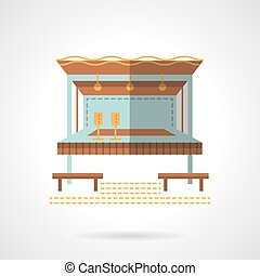 Outdoor party building flat color vector icon