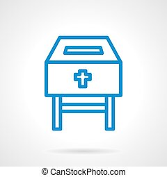 Charity box blue line vector icon - Charity in religion...