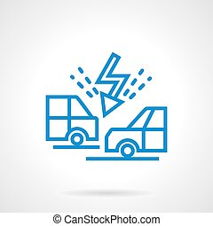 Cars collision blue line vector icon - Flash symbol between...