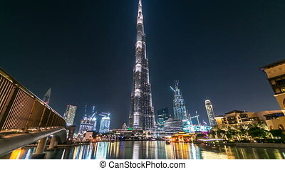 Dubai downtown and Burj Khalifa timelapse in Dubai, UAE -...