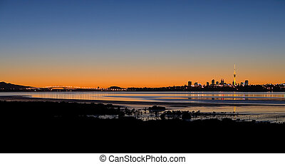 Auckland City At Sunrise - A Panorama of Auckland City,...