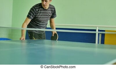 man feed serve playing athlete sport table tennis slow...