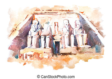 Abu Simbel temples watercolor drawing, Egypt. The Great...