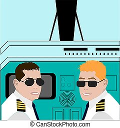 Pilot and co-pilot sitting in an airplane cabin flying and...