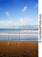 Surfcasting Rods at Taipa Beach - Surfcasting rods in the...