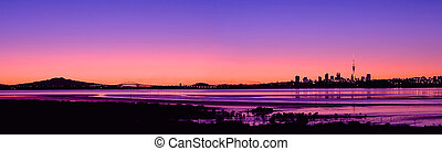 Auckland City Sunrise Panorama 2 - A Panorama of Auckland...