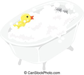 Bath Tub with Bubbles Rubber Duck - Vector Illustration of...