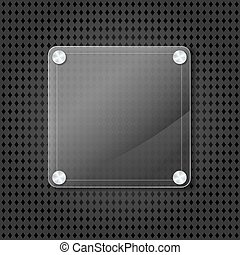 abstract glass frame on metallic grid background. vector