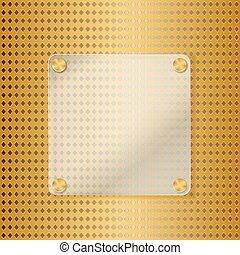 glass frame on golden background with grid. vector