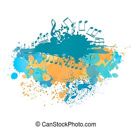 musical notes background with color blots. vector abstract illustration
