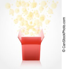 red gift box with surprise opening with glowing glitter. vector