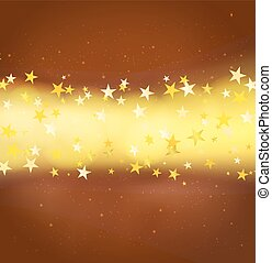 background with glitter light and stars over brown...