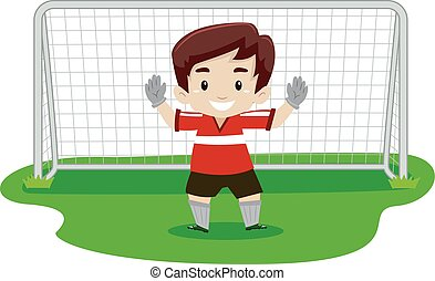 Boy playing soccer as GoalKeeper - Vector Illustration of a...