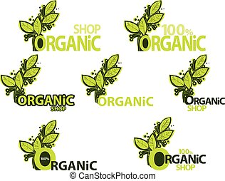 organic shop. set of logos with green leaves.