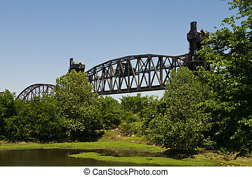 Trestle - Abandoned railroad bridge over the Arkansas River,...