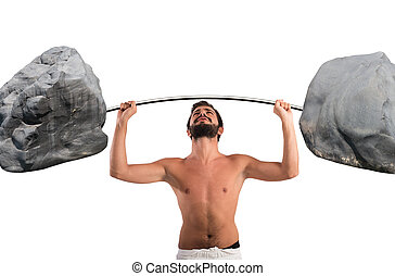 Clumsiness - Goofy guy lifting a barbell with boulders