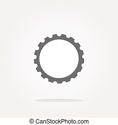 vector gear web icon, button isolated on white background