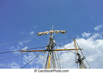 mast of sailing boat - detail of sailing boat mast in a...