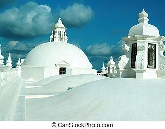 rooftop domes Cathedral Leon Nicaragua Central America -...