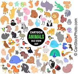 Big set of cute cartoon animal icons isolated on white background