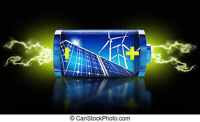 battery - 3D rendering of a green energy concept