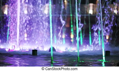 Floor fountain in park - Motion video fountains streams...